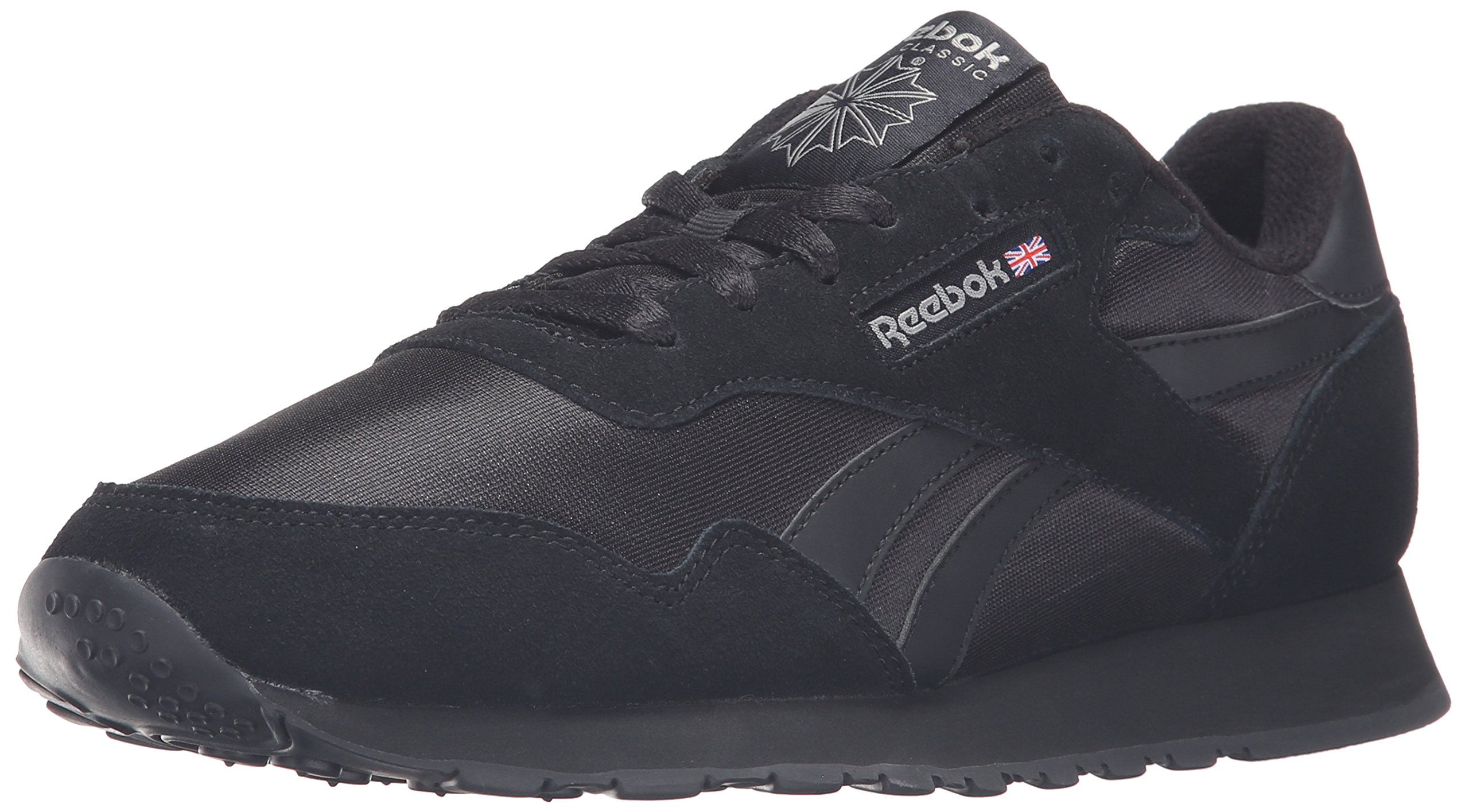 Reebok Men's Royal Nylon Classic Fashion Sneaker, Black/Black/Carbon, 10.5 M US