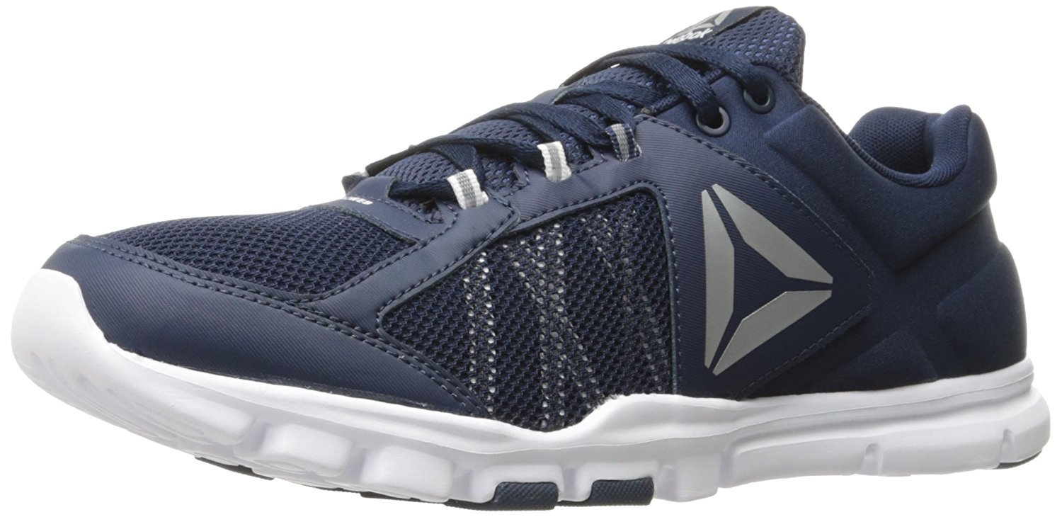 Reebok Men's Yourflex Train 9.0 MT Cross-Trainer Shoe, Collegiate Navy/White/Silver Met, 11 M US