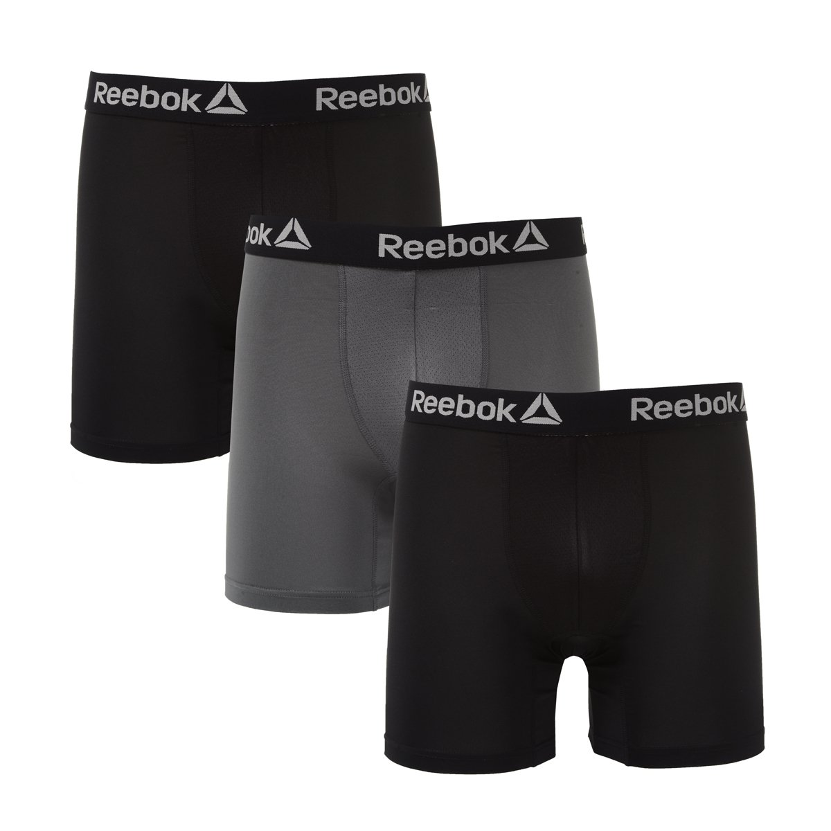 Reebok Mens 3 Pack Performance Boxer Briefs Black/Iron Gate/Black M