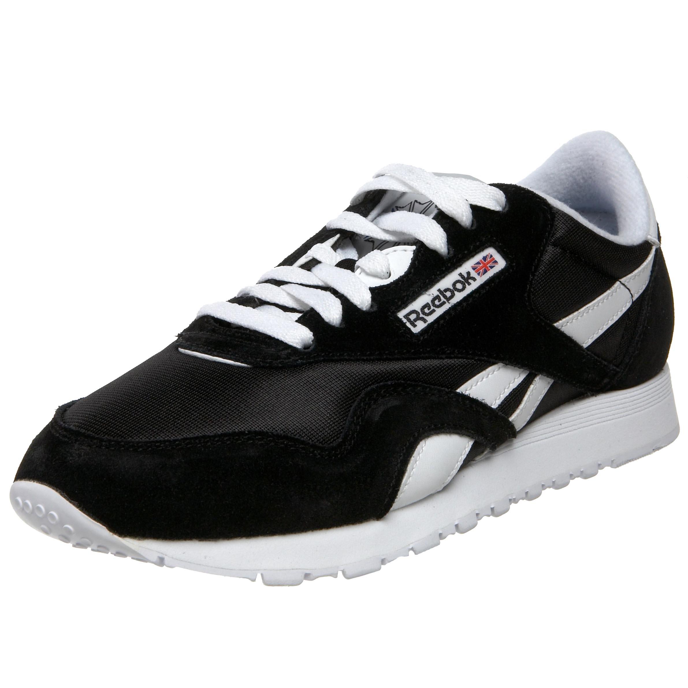 Reebok Women's Classic Nylon Sneaker, Black/White, 7 M US
