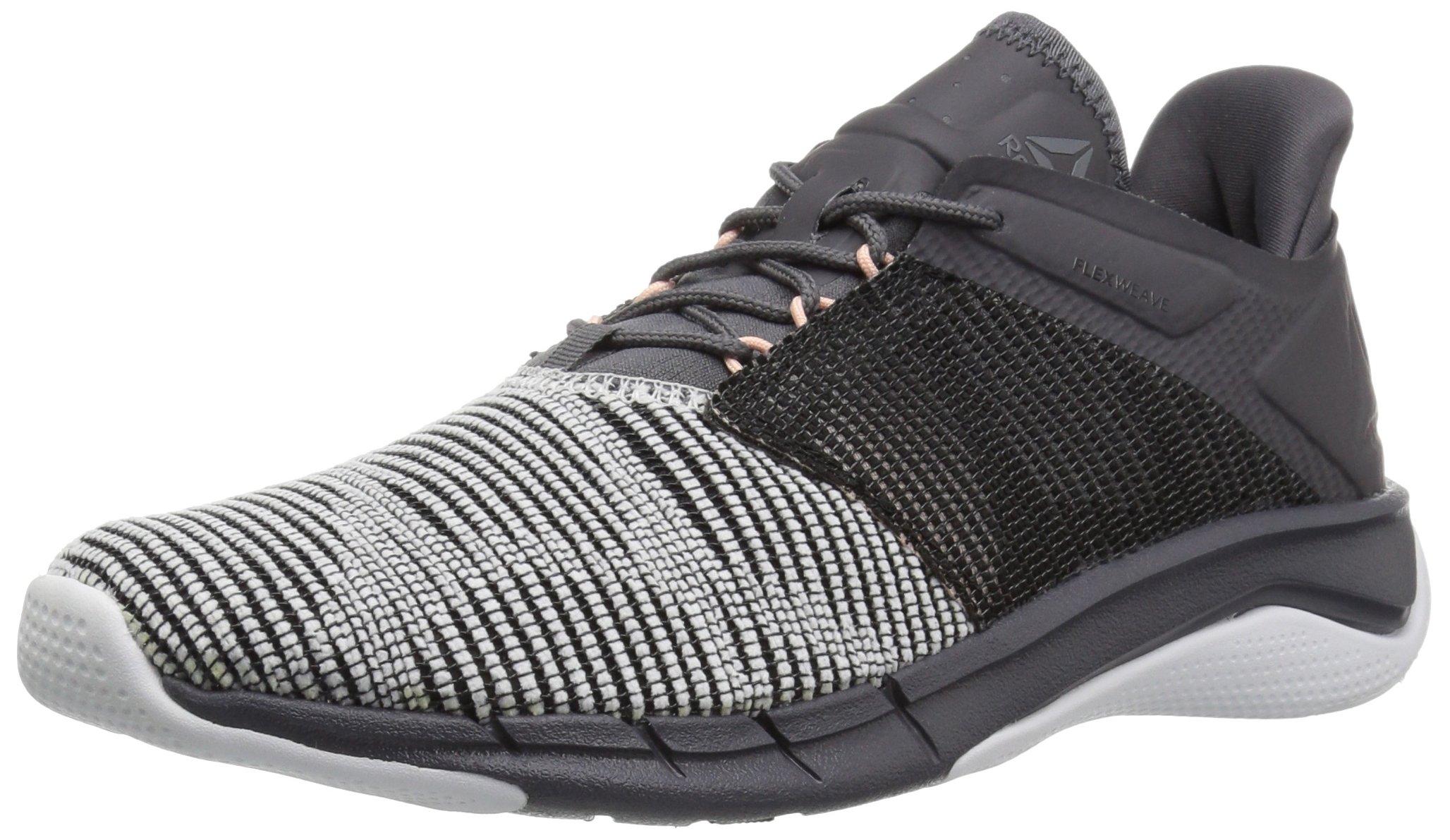 Reebok Women's Fast Flexweave Running Shoe, White/Ash Grey/Black/Desert Dust, 8.5 M US