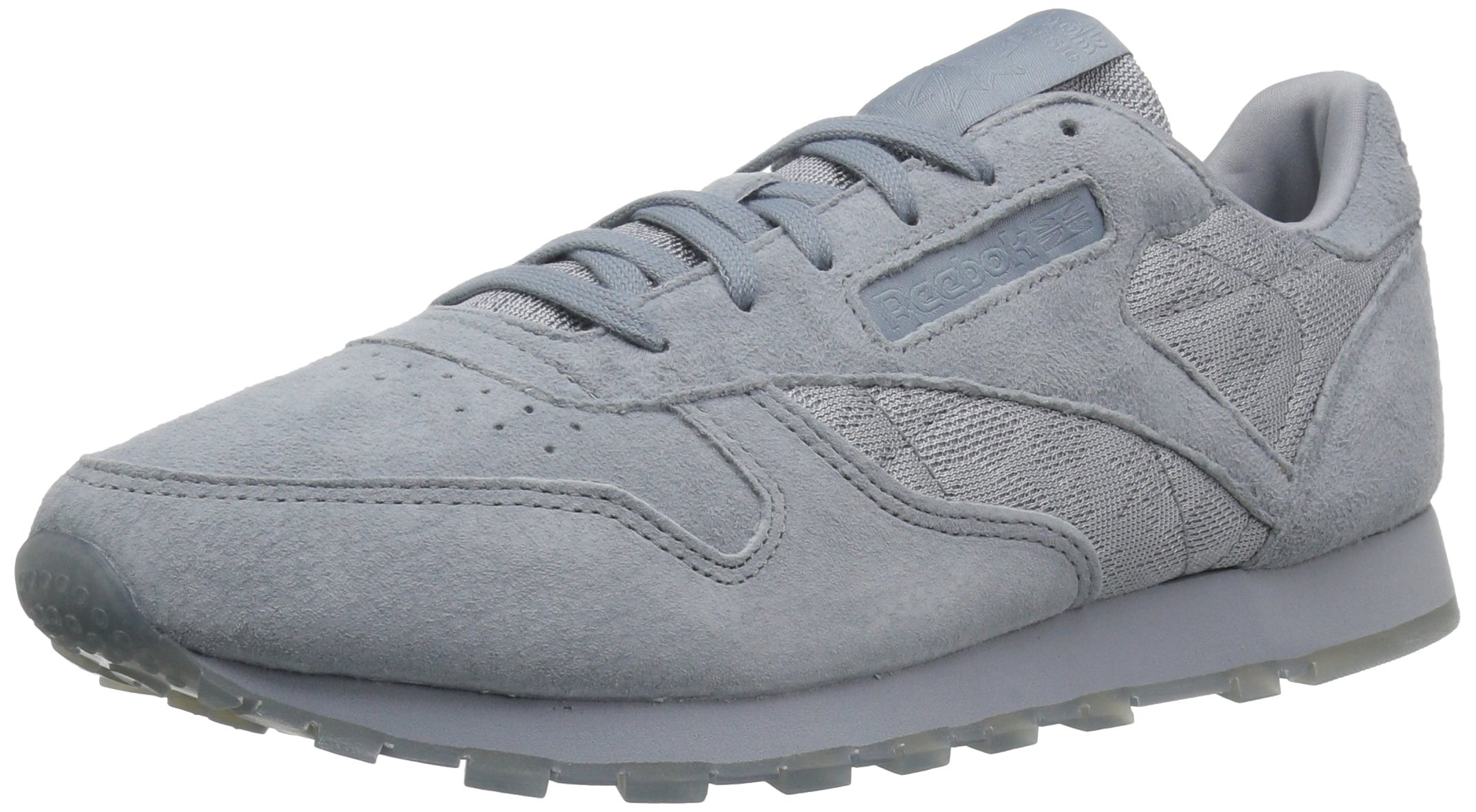 Reebok Women's CL Lthr Lace Sneaker, Meteor Grey/White, 8.5 M US