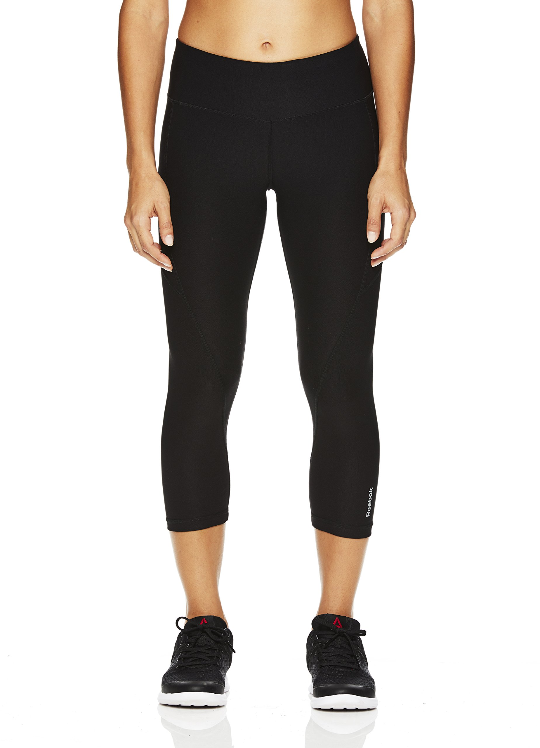 Reebok Women's Printed Capri Leggings With Mid-Rise Waist Performance Compression Tights, Quick Black, Medium