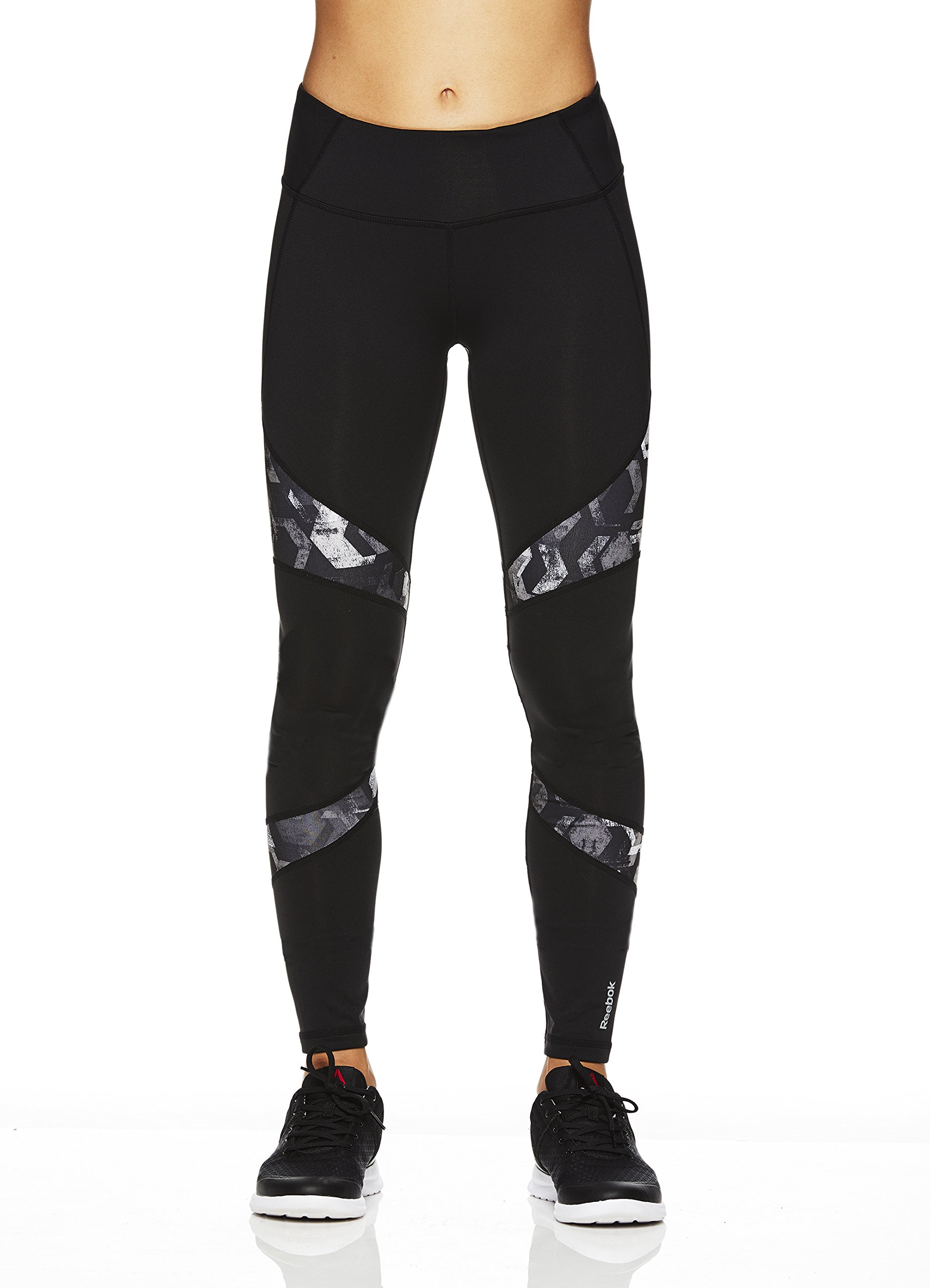 Reebok Women's Legging Full Length Performance Compression Pants- Black - Reah Printed Doku Geo/Black, Medium