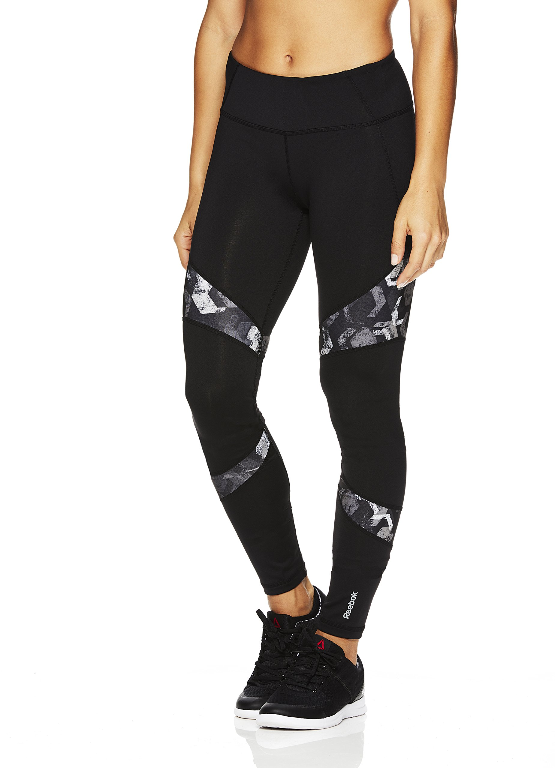Reebok Womens Legging Full Length Performance Compression Pants Geo Black Reah Printed Doku Medium