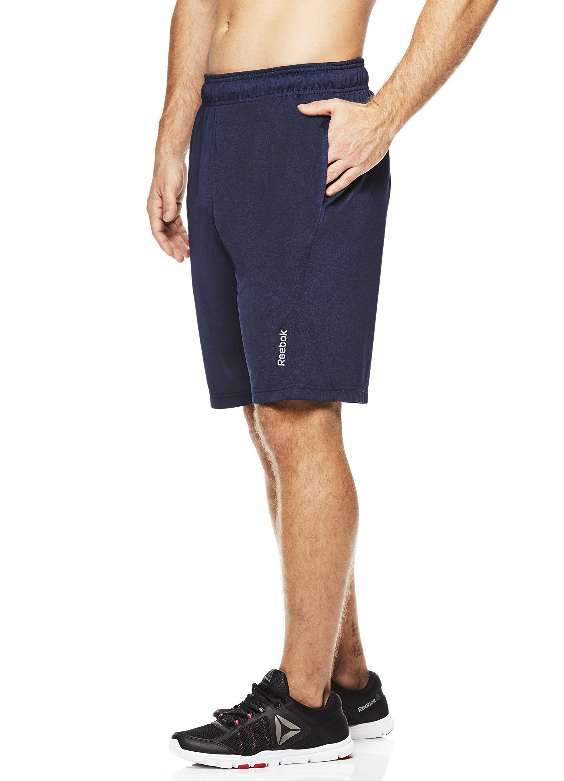 Reebok Men's Drawstring Shorts - Athletic Running & Workout Short - Deep Sea Blue Fireball, Medium